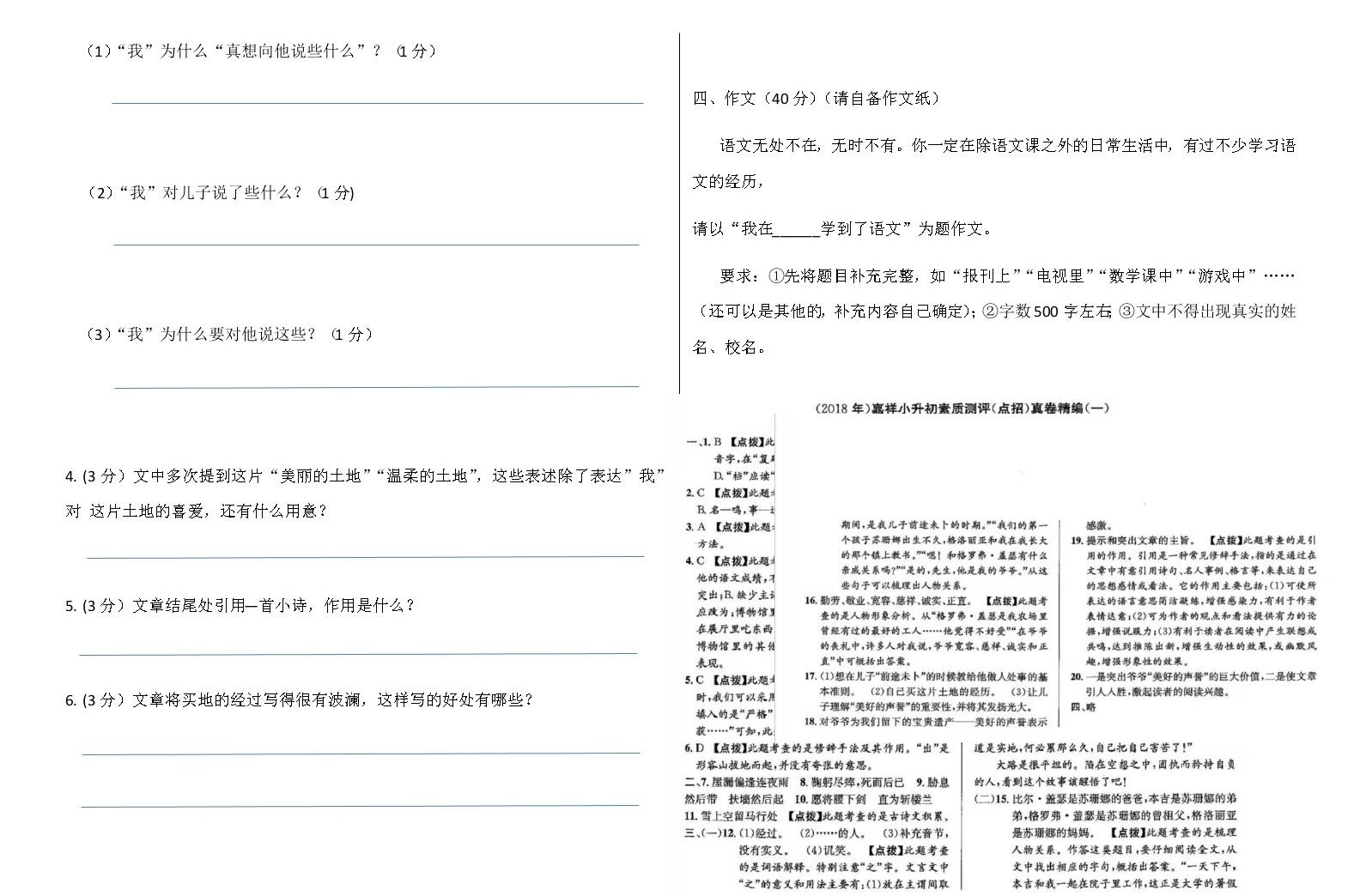 2019-2020年度六年级语文小升初全真模拟试卷 (四)(有答案)04