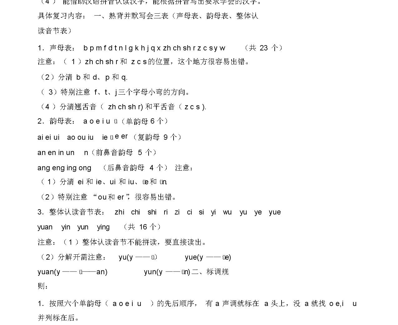 人教版 一年級語文上冊 知識點整理-8頁01