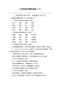 部編版名校沖刺2021年小升初語文模擬試題(二)(含答案)