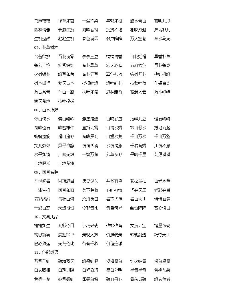 小學語文畢業總復習小升初知識集錦之詞語歸類02