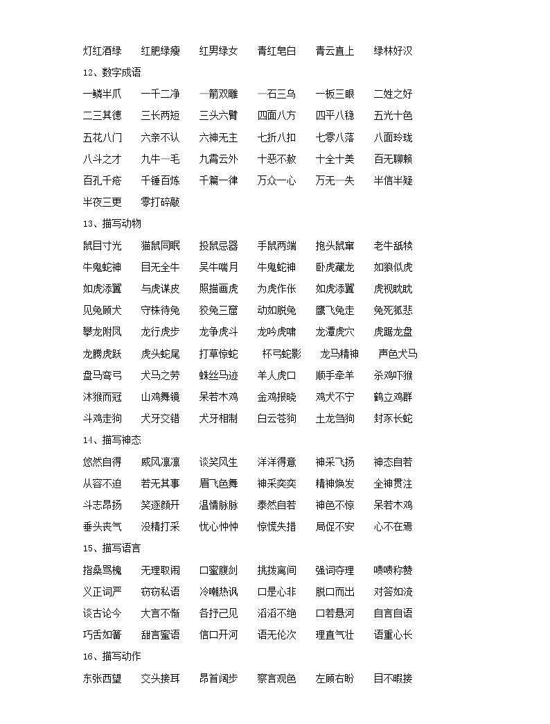 小學語文畢業總復習小升初知識集錦之詞語歸類03