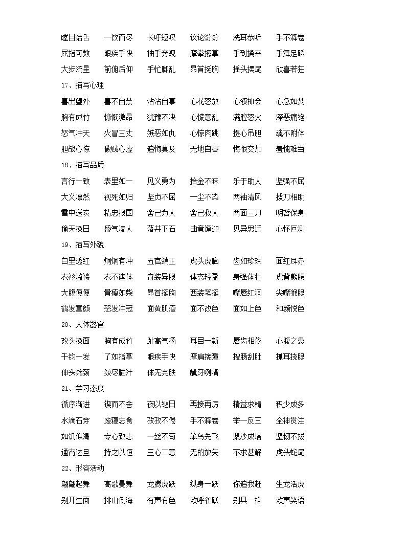 小學語文畢業總復習小升初知識集錦之詞語歸類04