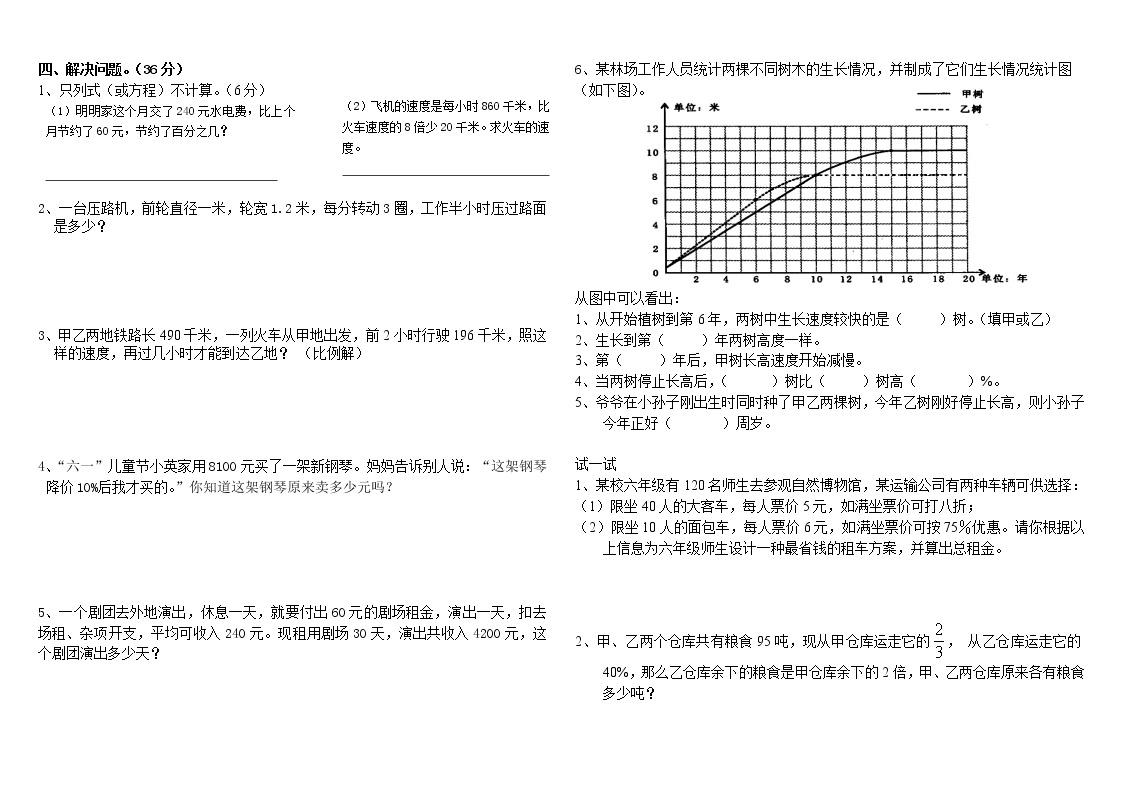 人教版數學小升初試卷(四)02