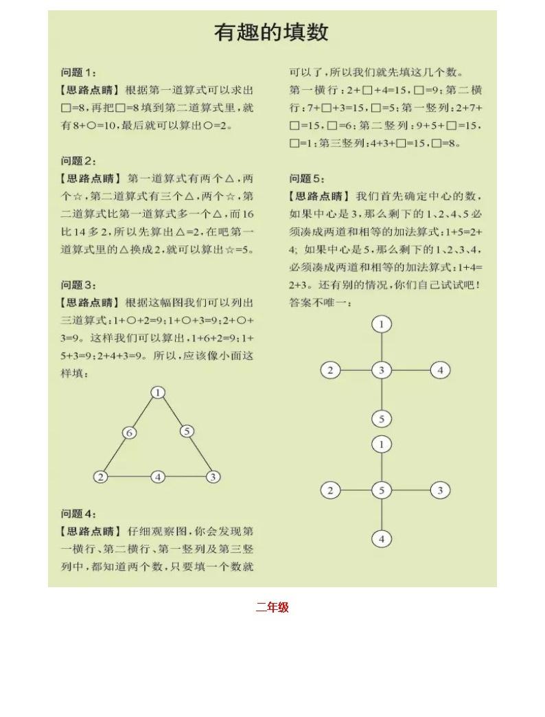 蘇教版小學數學1-3年級暑期專練05