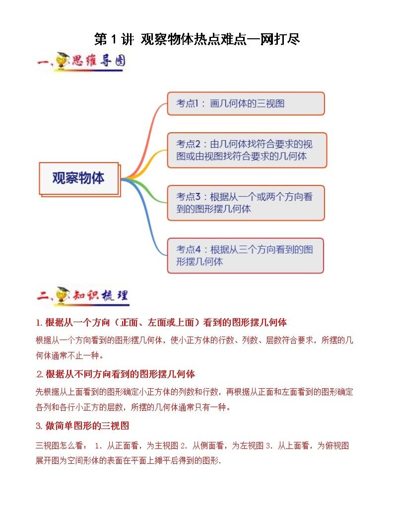 第1講 觀察物體(教師版)(知識梳理+典例分析+舉一反三+階梯訓練)人教新課標版01