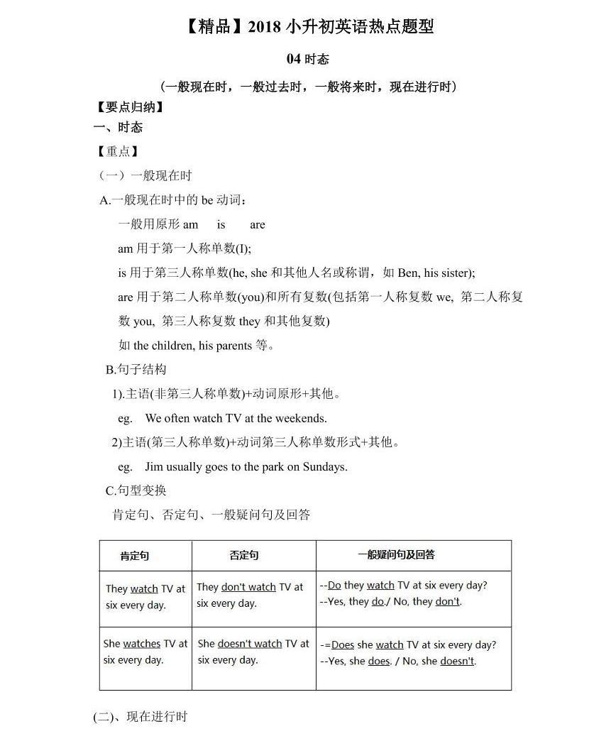 【精品】小升初英語熱點題型講練一04時態01