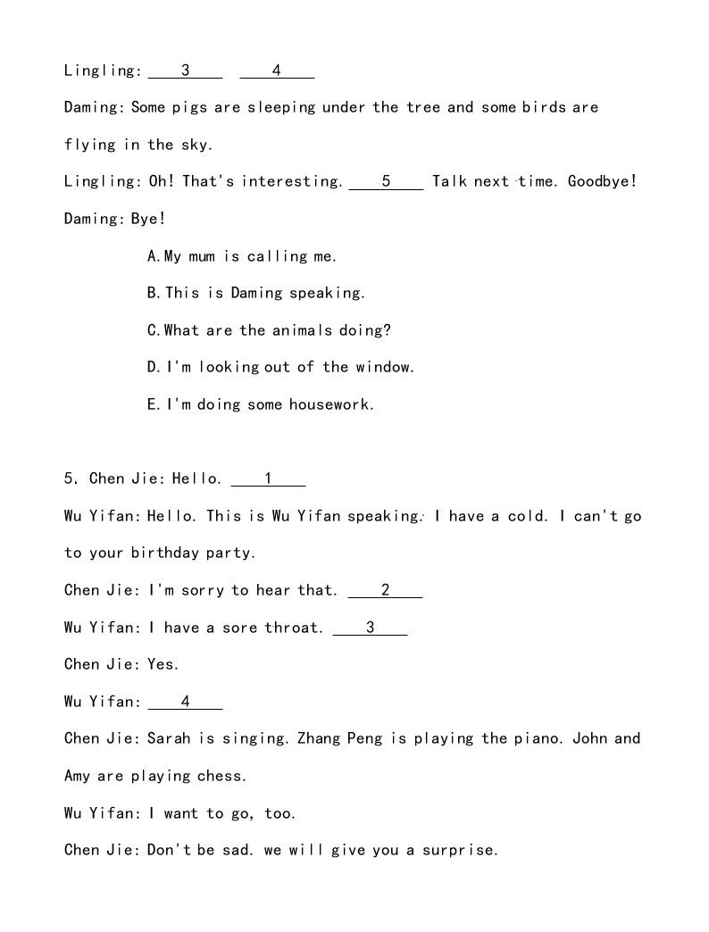 【小升初沖刺】英語專項復習:第4部分 交際 5、打電話和就醫—拔高02