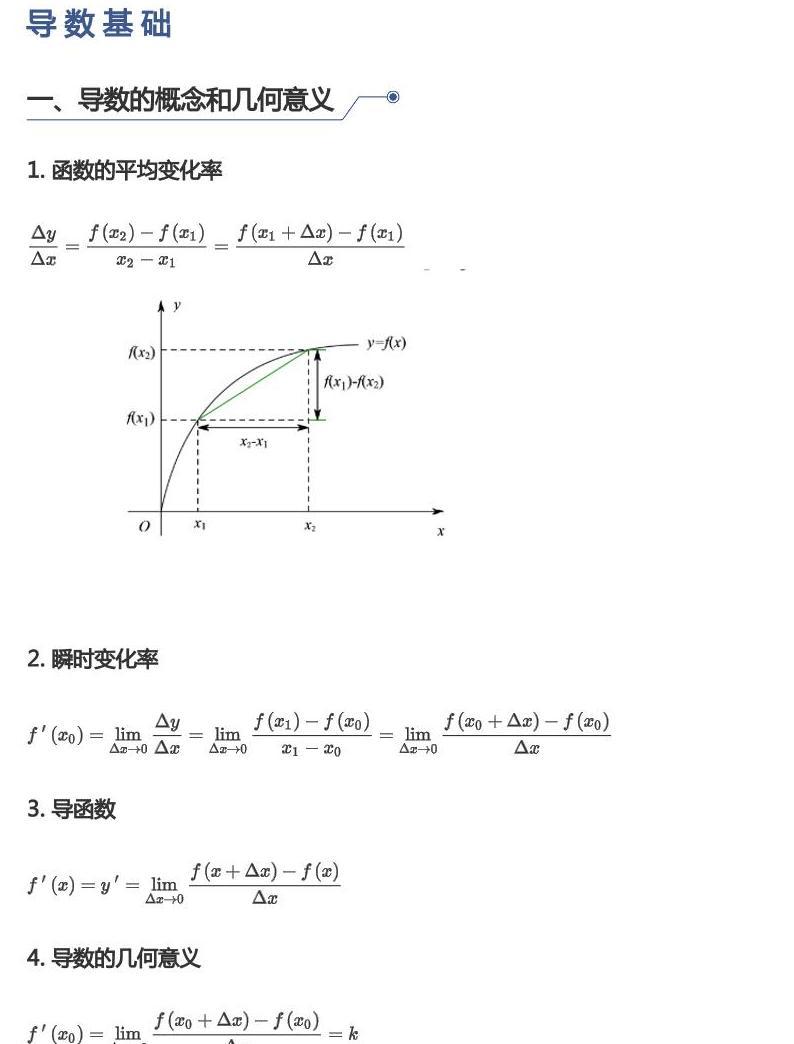 中考数学试题汇编:导数基础01
