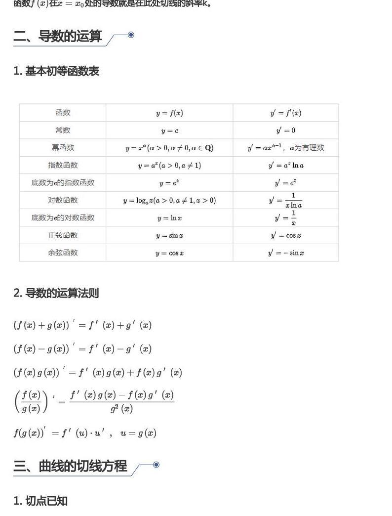 中考数学试题汇编:导数基础02