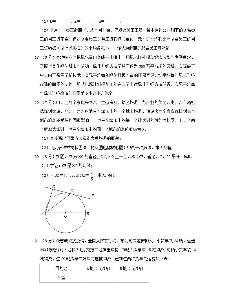 2020云南中考數學真題及答案04