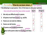 2020年牛津版七年級下冊英語Unit 7 Poems Period 1 ReadingⅠ(課件(27張ppt)+教案+同步練習)