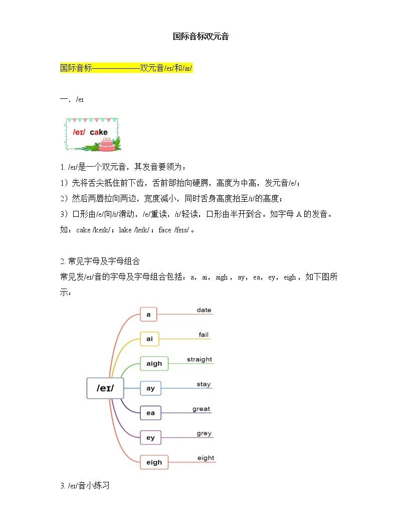 _國際音標 雙元音 發音要領 字母組合 練習01