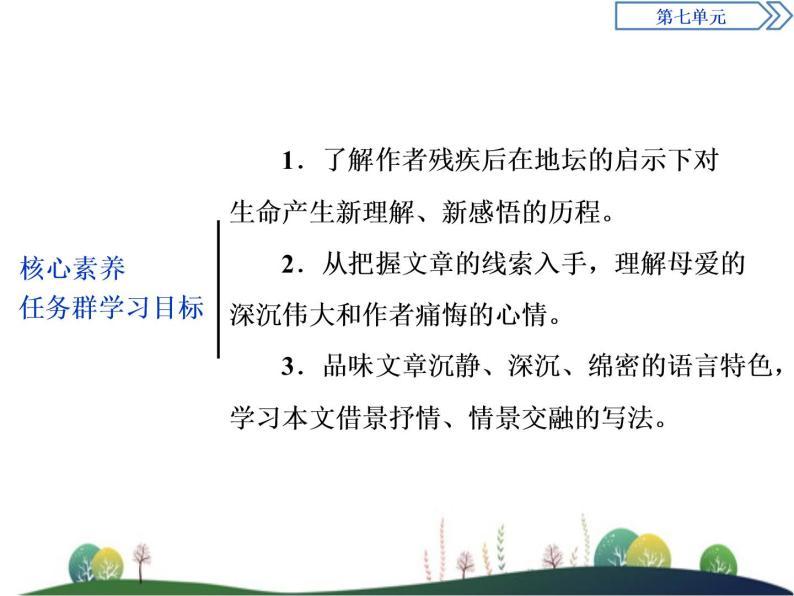(新)部编版语文必修上册课件:第七单元 第15课 我与地坛(节选)02