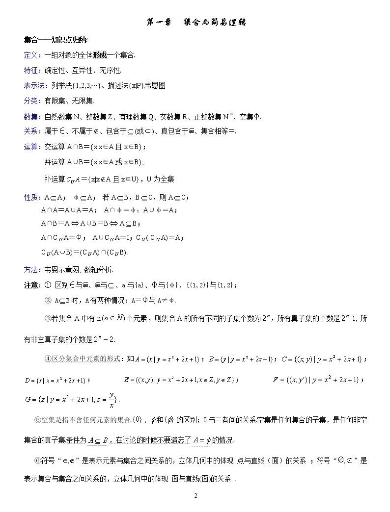 【高考复习第一轮】高中数学知识点总结02