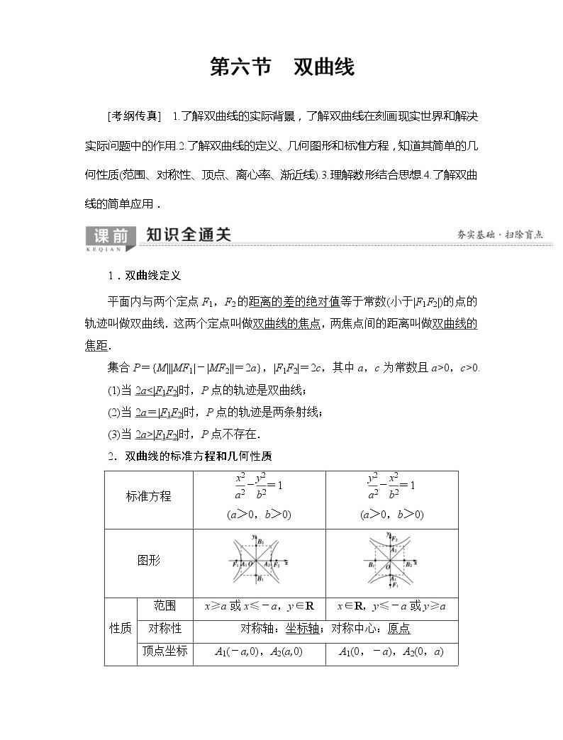 2020年高考數學一輪復習教案:第8章 第6節 雙曲線(含解析)01
