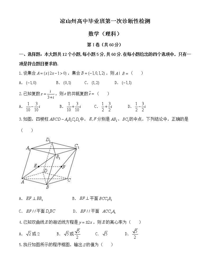 四川省涼山州高三第一次診斷性檢測數學(理)試題附答案01