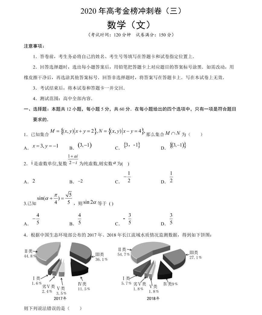 2020年普通高等學校招生全國統一考試 數學(文)沖刺卷(三)(原卷版)01