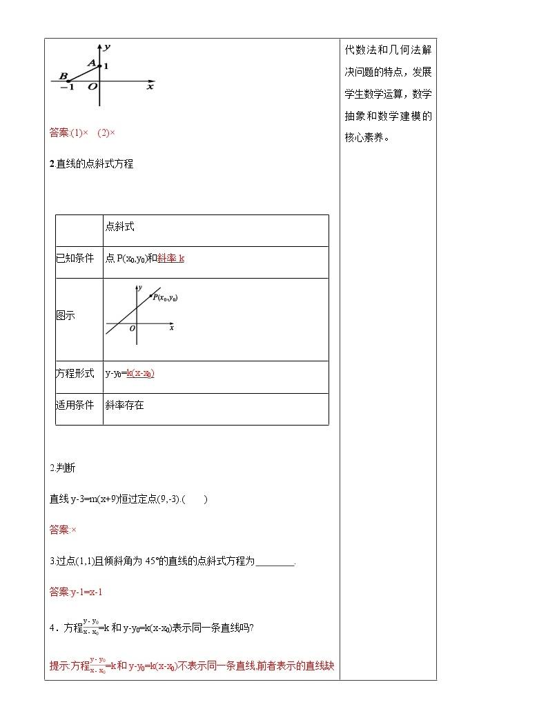 【新教材精創】2.2.2 直線的方程(第1課時)教學設計-人教B版高中數學選擇性必修第一冊04