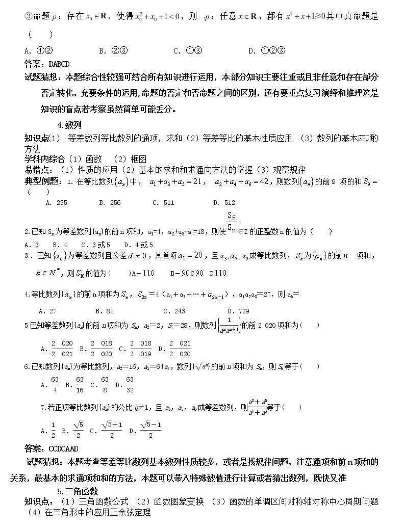 2021高考數學試題猜想04