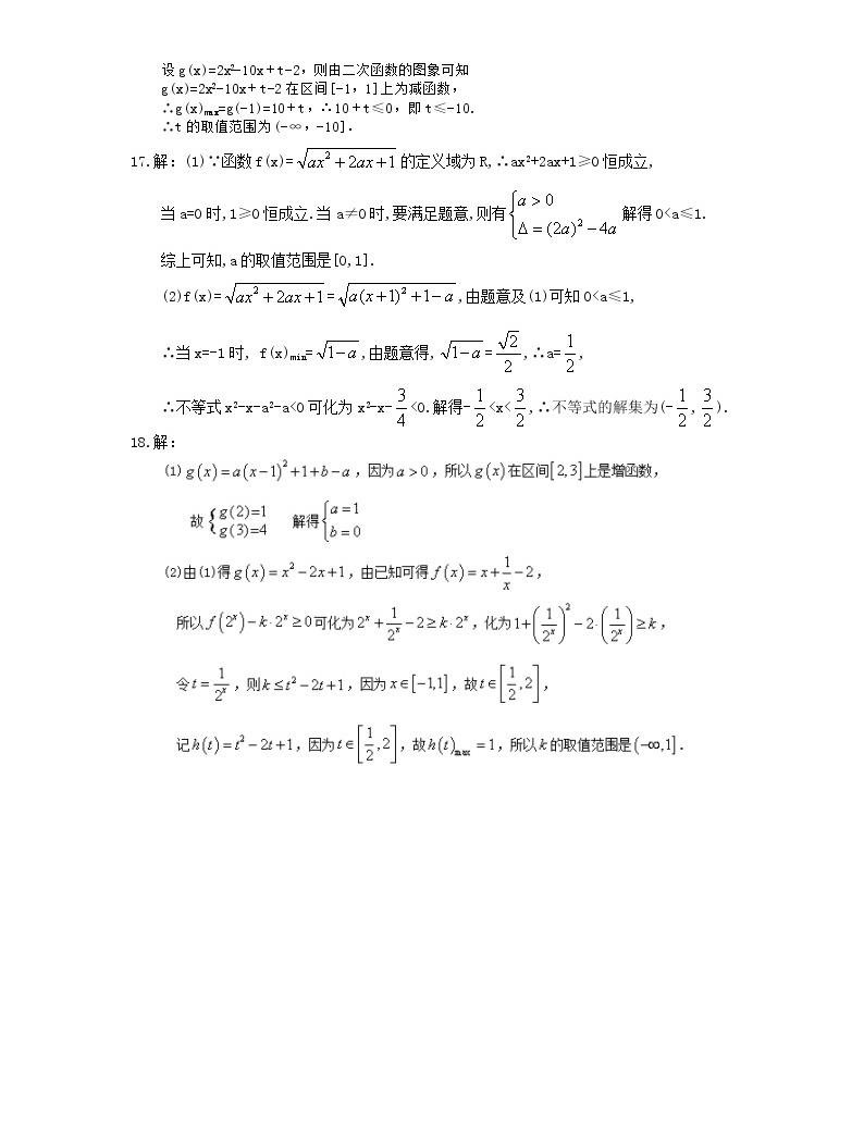 2021年高中數學培優練習《不等式-含參數問題》專項復習(含答案)05