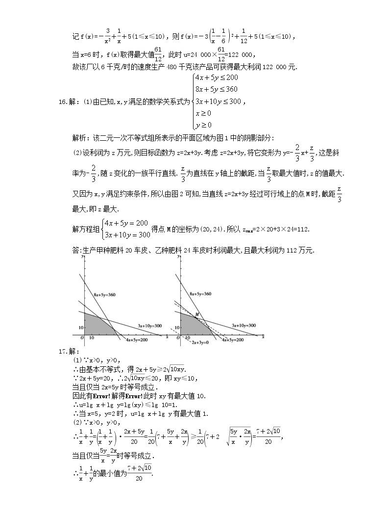 2021年高中數學培優練習《不等式-最值問題》專項復習(含答案)05