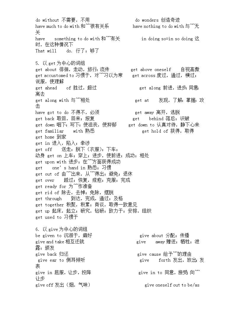 高考英語完型填空高頻詞組 704